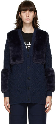 Stella McCartney Navy Faux-Fur Cardigan