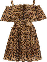 Dolce & Gabbana Off-The-Shoulder Leopard-Print Dress