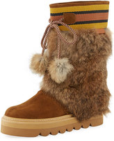 See by Chloe Striped-Cuff Fur-Trim Boot