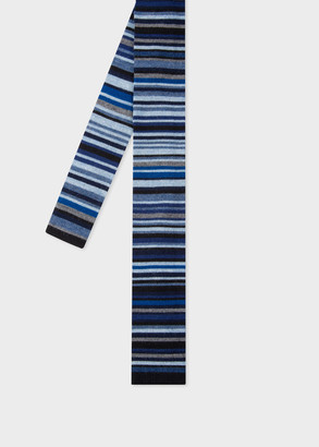Men's Navy Multi-Stripe Knitted Wool Tie
