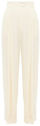 Three Graces London Molly Crepe High-rise Trousers - Womens - Cream