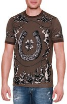 Dolce & Gabbana Horseshoe & Floral Graphic T-Shirt