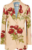 Gucci Floral-print Wool And Mohair-blend Blazer - Beige