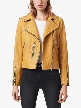 AllSaints Fern Bubble Leather Biker Jacket, Gilded Beige