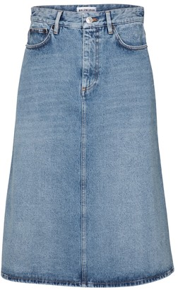 Balenciaga High-rise denim midi skirt