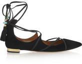 Aquazzura + Poppy Delevingne Hero Ballerina Suede Point-toe Flats - Black