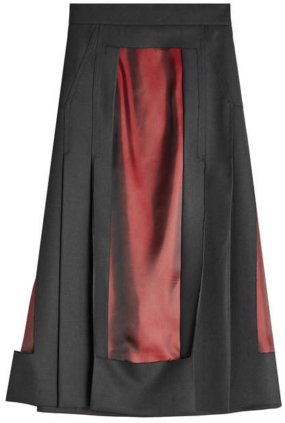 Maison Margiela Wool Skirt with Satin Panels