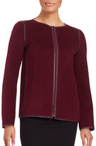 Lafayette 148 New York Keaton Leather Trim Cashmere and Wool-Blend Jacket