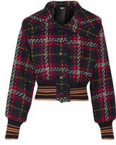 Miu Miu Cropped Houndstooth Wool-tweed Bomber Jacket - Black