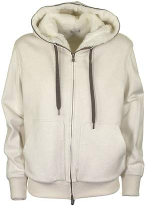 Brunello Cucinelli Stretch Cotton Lightweight French Terry Reversible Sweatshirt With Dazzling Embroidery Detail Ivory