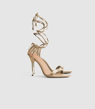 Reiss Zhane - Satin Strappy Wrap Sandals in Gold