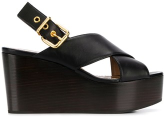 Marni Crossover Straps Wedge Sandals