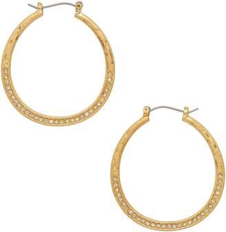 Canvas Goldtone Crystal Hoop Earrings