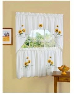 Achim Sunshine Embellished Tier and Swag Window Curtain Set, 57x36
