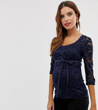 Mama Licious Mama.Licious Mamalicious lace 3/4 sleeve top-Navy