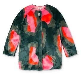 Kenzo Girls' Color-Block Faux Fur Coat - Big Kid