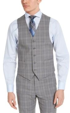 Michael Kors Men's Classic-Fit Airsoft Stretch Gray Plaid Suit Vest