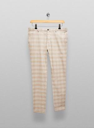 Topman Big & Tall Mustard Check Skinny Trousers