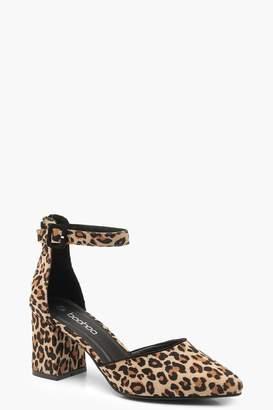 boohoo Leopard Print Pointed Low Block Heel Ballets