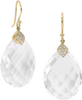 Elizabeth Showers Large Eliza White Quartz Drop Earrings with Diamonds