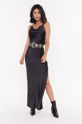 Nasty Gal Womens Cowl Me Back Babe Satin Maxi Dress - black - 10