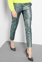 Green Brocade Effect Winston Cigarette Trousers