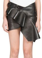 Saint Laurent Ruffled Leather Mini Skirt