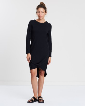 Silent Theory Women's Black Long Sleeve Dresses - Long Sleeve Twisted Tee Dress - Size One Size, 6 at The Iconic