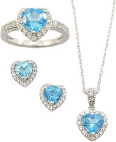JCPenney FINE JEWELRY Genuine Blue Topaz & White Sapphire 3-pc. Jewelry Set