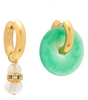 Timeless Pearly Pearl, Crystal And Jade Disk Mismatched Earrings - Green Gold