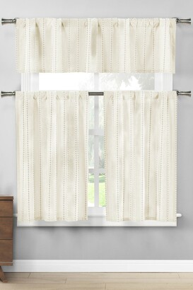 Duck River Textile Kylie Stripes Kitchen Curtain & Tier Set - Linen/White