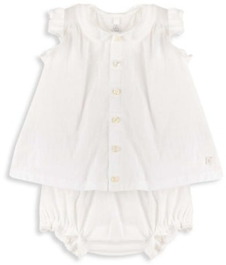 Petit Bateau Baby Girl's Peter Pan Collar Dress & Bloomers