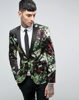 Asos Super Skinny Blazer with Floral Design