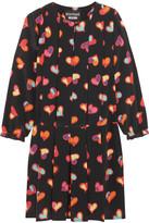 Moschino Pleated Printed Silk Crepe De Chine Mini Dress - Black