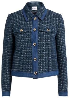 Claudie Pierlot Tweed Denim-Trim Jacket