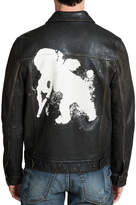 PRPS Men's Leather Jacket with Painted Cherub Graphic