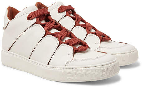 Ermenegildo Zegna Tiziano Panelled Leather High-Top Sneakers