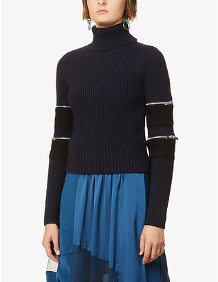 Sacai Zip-detail high-neck wool jumper