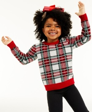 Charter Club Little Girls Plaid Sweater, Created for Macy's