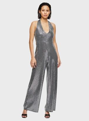 Miss Selfridge Silver Halter Sequin Jumpsuit