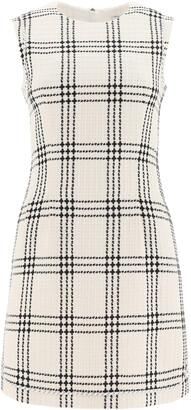 MSGM BOUCLE' SHEATH DRESS 38 White, Black Cotton