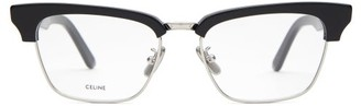 Celine D-frame Acetate And Metal Glasses - Black Silver