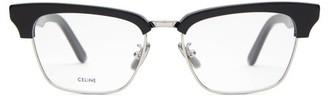 Celine D-frame Acetate And Metal Glasses - Womens - Black Silver
