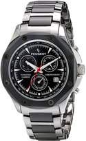 Peugeot Men's PS923 Analog Display Swiss Quartz Grey Tungsten Watch