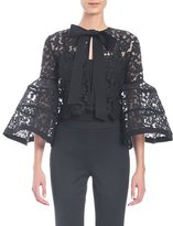 Carolina Herrera Bell-Sleeve Lace Jacket with Bow, Black