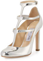 Jimmy Choo Doll Caged Leather 100mm Pump, Silver