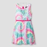 LILT Girls' Lilt Sleeveless Clip Dot Tie Dye Skater Dress with Bow Back - Multi-color