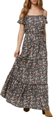 O'Neill Floral Print Tiered Maxi Dress