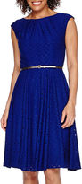 London Times London Style Collection Short-Sleeve Belted Lace Fit-and-Flare Dress
