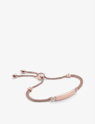 Monica Vinader Baja Deco ID 18ct rose gold vermeil sterling silver and diamond bracelet